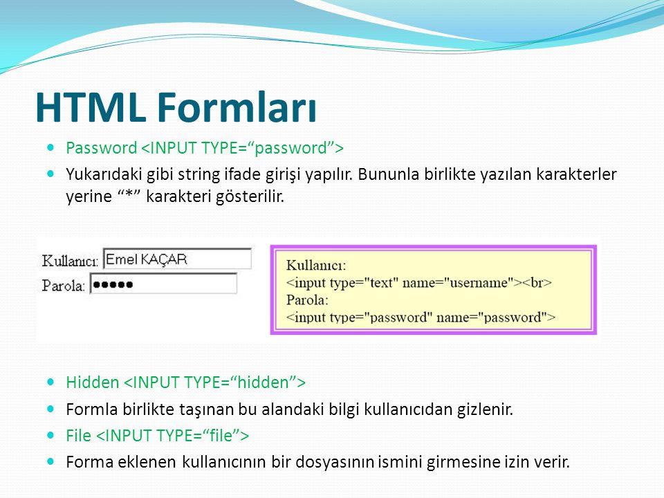 HTML Formları Password Yukarıdaki gibi string ifade girişi yapılır.