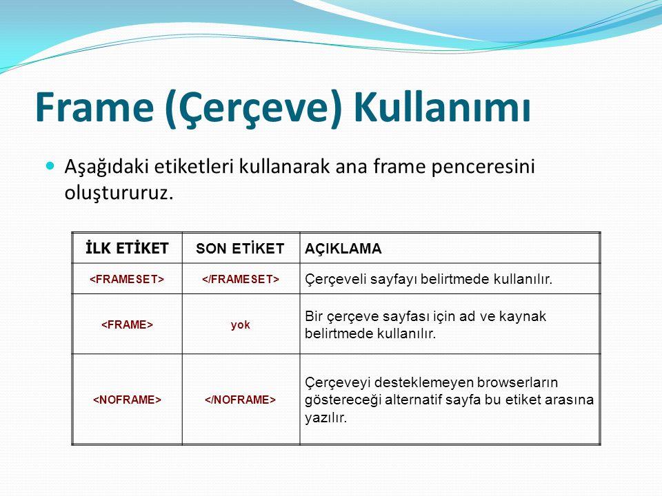 Frame (Çerçeve) Kullanımı Aşağıdaki etiketleri kullanarak ana frame penceresini oluştururuz.