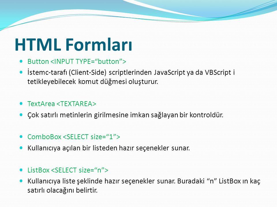 HTML Formları Button İstemc-tarafı (Client-Side) scriptlerinden JavaScript ya da VBScript i tetikleyebilecek komut düğmesi oluşturur.