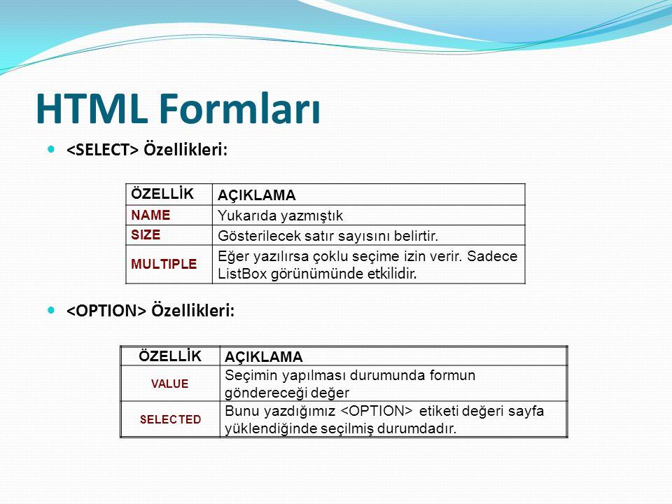 HTML Formları Özellikleri: ÖZELLİK AÇIKLAMA NAME Yukarıda yazmıştık SIZE Gösterilecek satır sayısını belirtir.