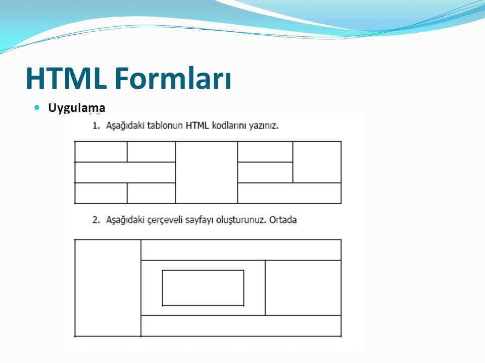 HTML Formları Uygulama