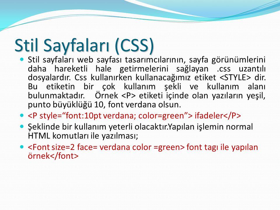 Stil Sayfaları (CSS) Stil sayfaları web sayfası tasarımcılarının, sayfa görünümlerini daha hareketli hale getirmelerini sağlayan.css uzantılı dosyalardır.