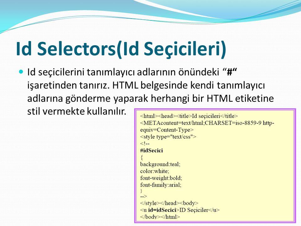 Id Selectors(Id Seçicileri) Id seçicilerini tanımlayıcı adlarının önündeki # işaretinden tanırız.
