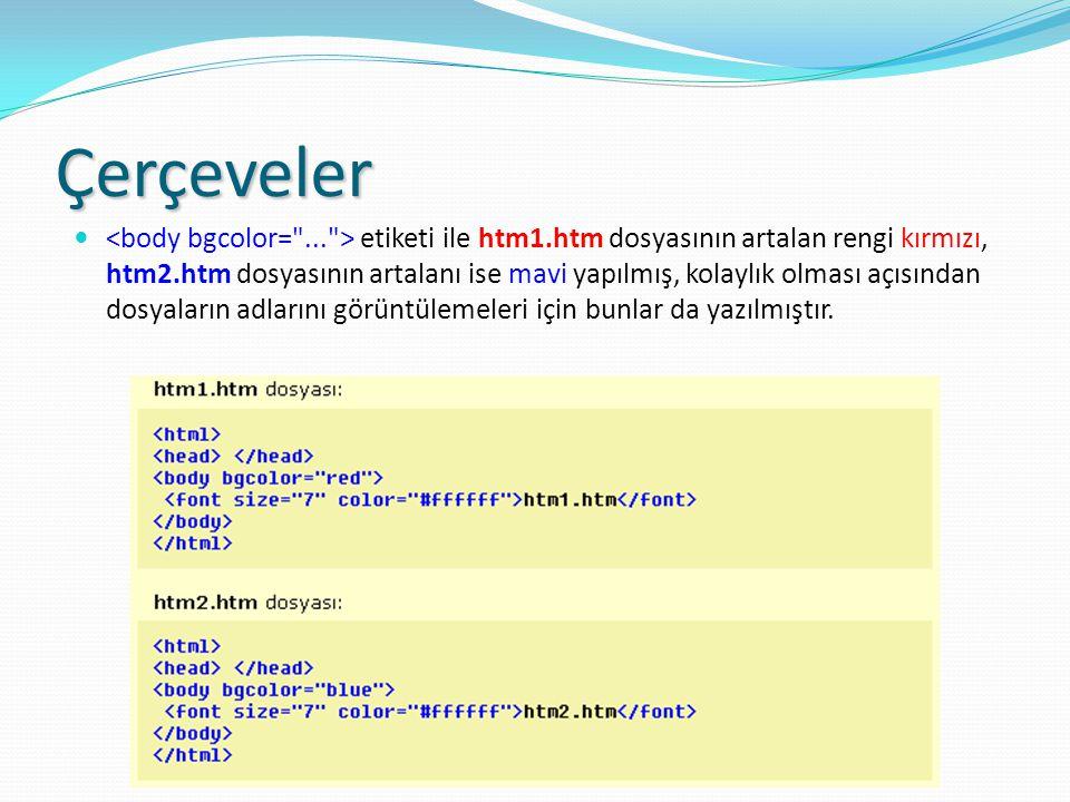 Çerçeveler etiketi ile htm1.htm dosyasının artalan rengi kırmızı, htm2.htm dosyasının artalanı ise mavi yapılmış, kolaylık olması açısından dosyaların adlarını görüntülemeleri için bunlar da yazılmıştır.