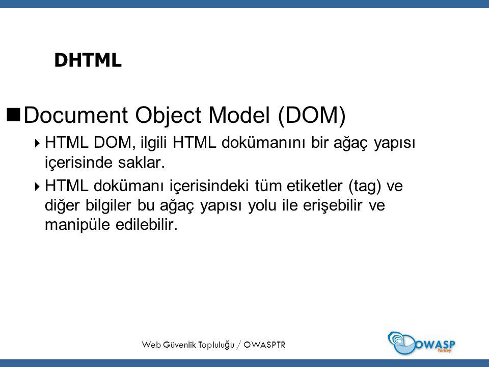 14 DHTML Document Object Model (DOM)  HTML DOM, ilgili HTML dokümanını bir ağaç yapısı içerisinde saklar.