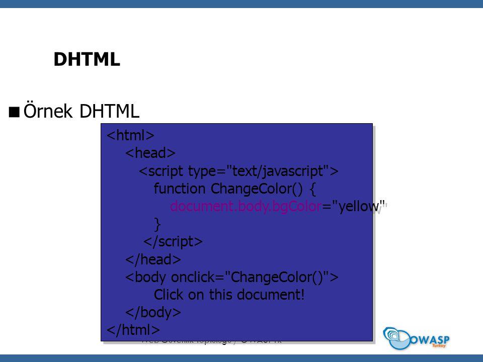 16 DHTML  Örnek DHTML Web Güvenlik Toplulu ğ u / OWASPTR function ChangeColor() { document.body.bgColor= yellow } Click on this document.