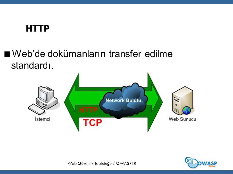21 HTTP  Web'de dokümanların transfer edilme standardı. Web Güvenlik Toplulu ğ u / OWASPTR
