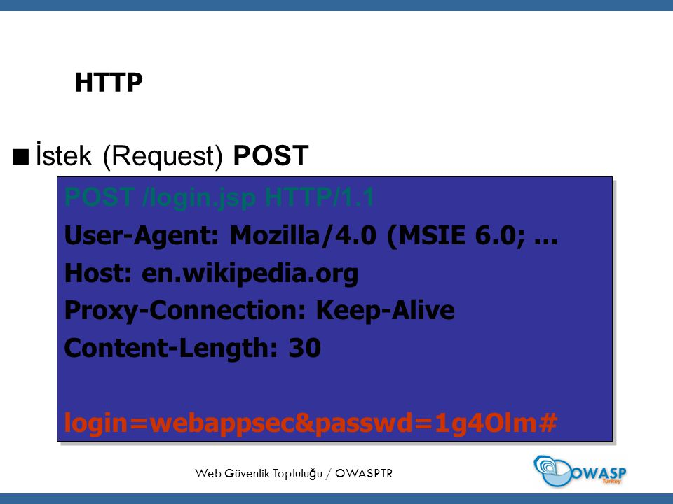24 HTTP  İstek (Request) POST Web Güvenlik Toplulu ğ u / OWASPTR POST /login.jsp HTTP/1.1 User-Agent: Mozilla/4.0 (MSIE 6.0;...