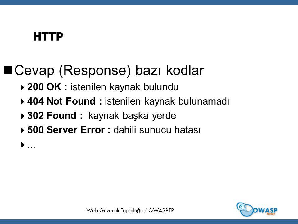 28 HTTP Cevap (Response) bazı kodlar  200 OK : istenilen kaynak bulundu  404 Not Found : istenilen kaynak bulunamadı  302 Found : kaynak başka yerde  500 Server Error : dahili sunucu hatası ...