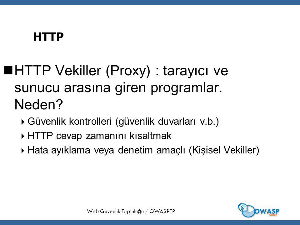 29 HTTP HTTP Vekiller (Proxy) : tarayıcı ve sunucu arasına giren programlar.