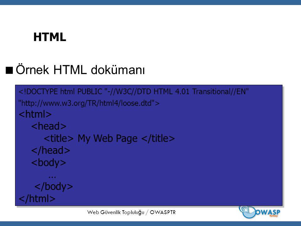 8 HTML  Örnek HTML dokümanı Web Güvenlik Toplulu ğ u / OWASPTR My Web Page … My Web Page …
