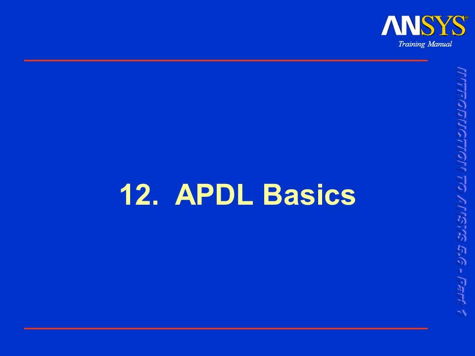 Training Manual 001289 30 Nov 1999 12-2 APDL Basics Genel Bakış APDL ANSYS Parametrik Tasarım Dili anlamının kısaltılmışı olarak kullanılmaktadır.
