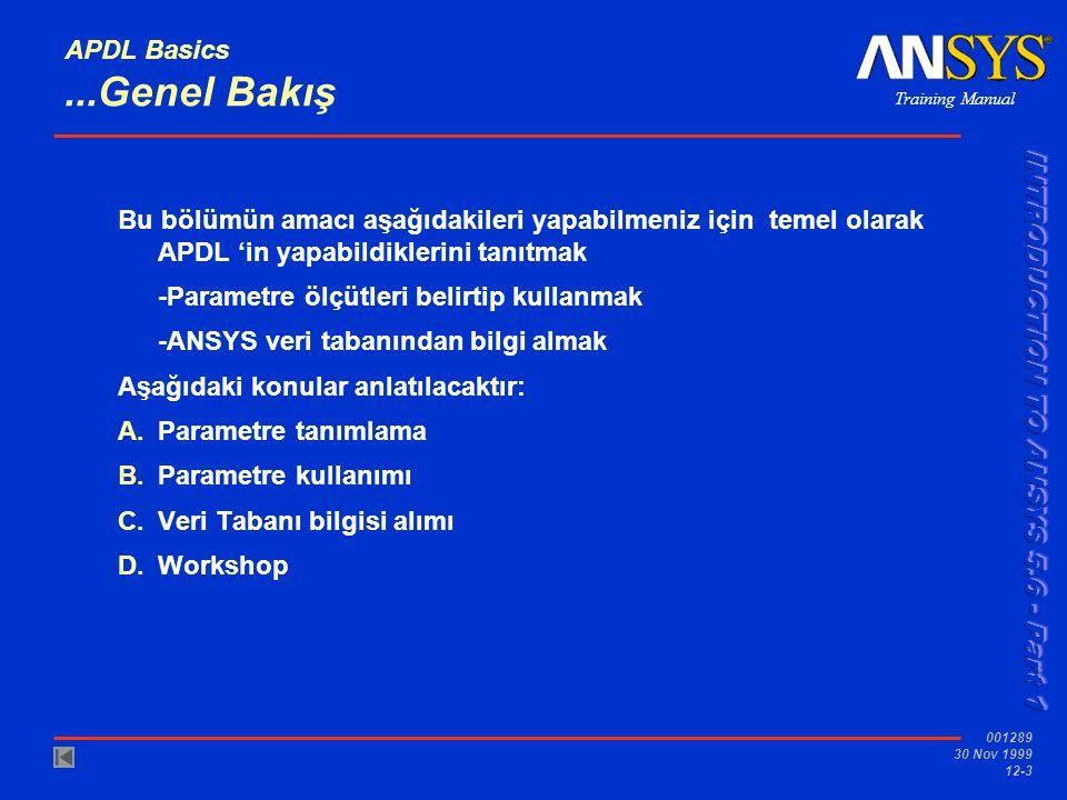 Training Manual 001289 30 Nov 1999 12-3 APDL Basics...Genel Bakış Bu bölümün amacı aşağıdakileri yapabilmeniz için temel olarak APDL 'in yapabildikler