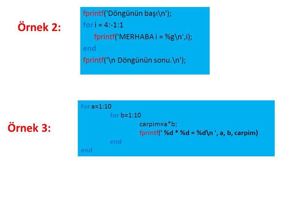 Örnek 2: fprintf('Döngünün başı\n'); for i = 4:-1:1 fprintf('MERHABA i = %g\n',i); end fprintf('\n Döngünün sonu.\n'); for a=1:10 for b=1:10 carpim=a*
