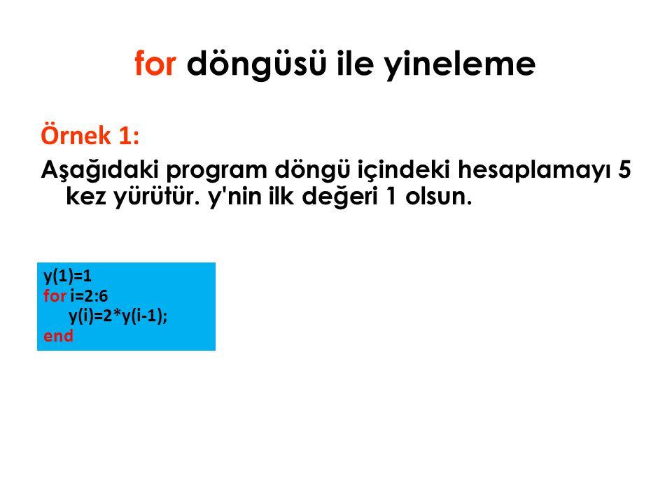 for döngüsü ile yineleme Örnek 1: Aşağıdaki program döngü içindeki hesaplamayı 5 kez yürütür. y'nin ilk değeri 1 olsun. y(1)=1 for i=2:6 y(i)=2*y(i-1)