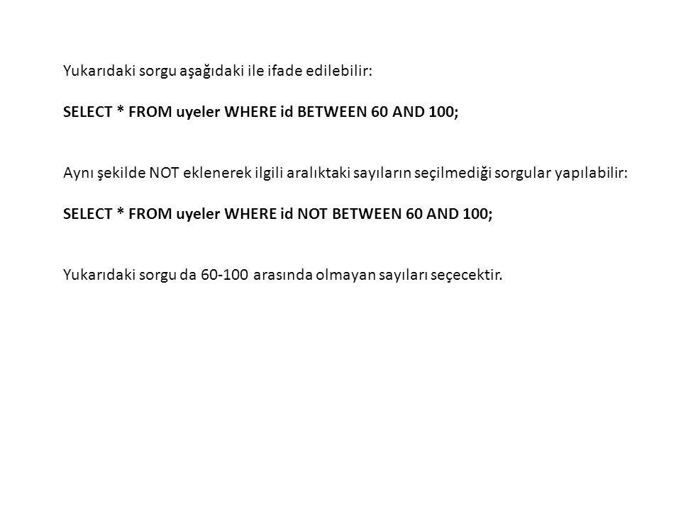 Yukarıdaki sorgu aşağıdaki ile ifade edilebilir: SELECT * FROM uyeler WHERE id BETWEEN 60 AND 100; Aynı şekilde NOT eklenerek ilgili aralıktaki sayıla