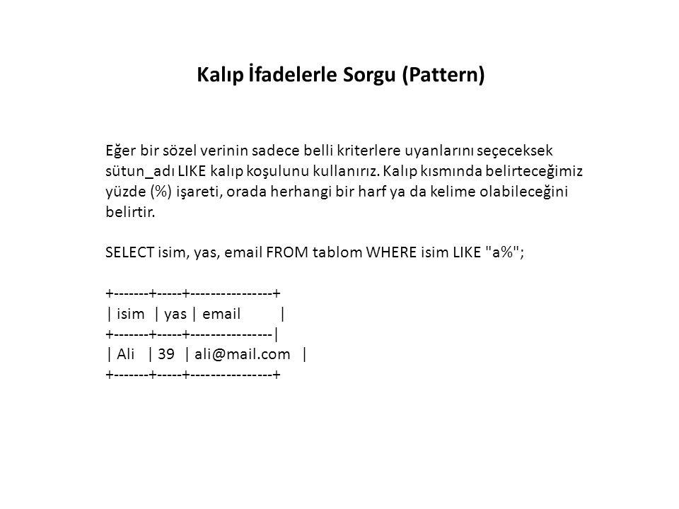 IN ve BETWEEN Kullanımı Aşağıdaki örnekte görülen bir sorguyu: SELECT * FROM uyeler WHERE id = 3 OR id = 6 OR id = 7; Bu şekilde uzun yazmak yerine IN(...) kullanabiliriz: SELECT * FROM uyeler WHERE id IN(3, 6, 7); Kullanırken parantez içine virgüllerle ayrılarak değerler yazılır.