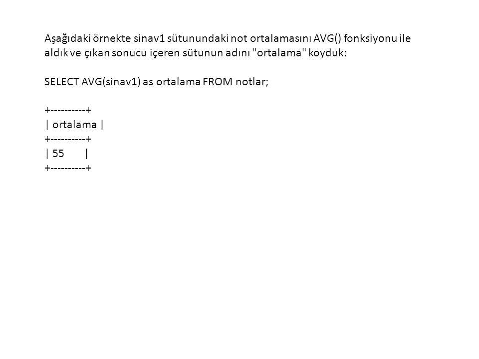 Aşağıdaki örnekte sinav1 sütunundaki not ortalamasını AVG() fonksiyonu ile aldık ve çıkan sonucu içeren sütunun adını ortalama koyduk: SELECT AVG(sinav1) as ortalama FROM notlar; +----------+ | ortalama | +----------+ | 55 | +----------+
