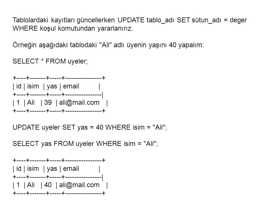 Tablolardaki kayıtları güncellerken UPDATE tablo_adı SET sütun_adı = deger WHERE koşul komutundan yararlanırız. Örneğin aşağıdaki tablodaki