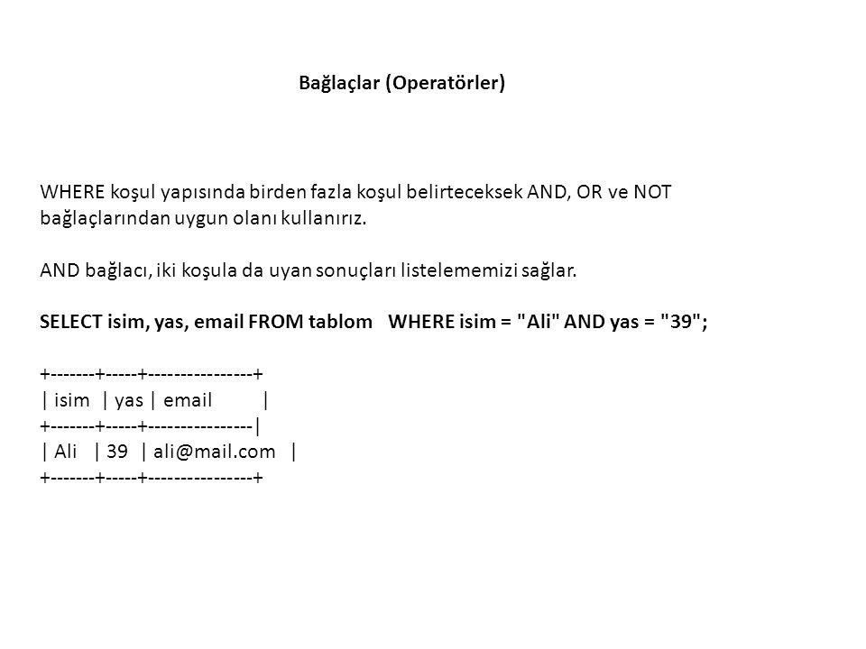 OR bağlacı iki durumdan birine uyan kayıtları listeler: SELECT isim, yas, email FROM tablom WHERE isim = Ali OR isim = Sevim ; +-------+-----+----------------+ | isim | yas | email | +-------+-----+----------------| | Ali | 39 | ali@mail.com | | Sevim | 24 | sevim@mail.com | +-------+-----+----------------+