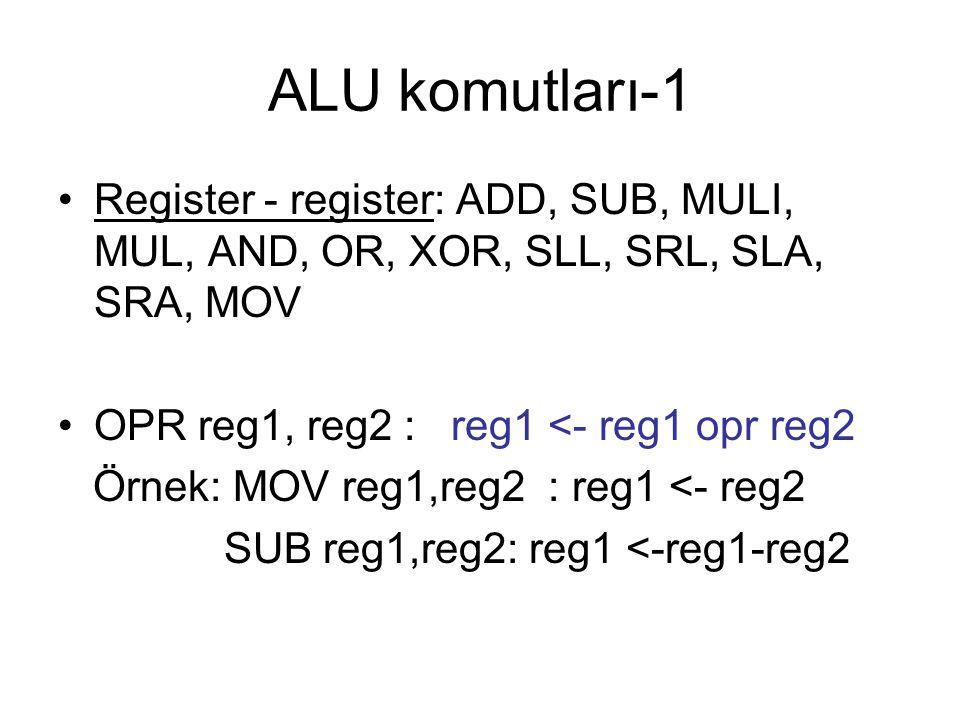 ALU komutları-1 Register - register: ADD, SUB, MULI, MUL, AND, OR, XOR, SLL, SRL, SLA, SRA, MOV OPR reg1, reg2 : reg1 <- reg1 opr reg2 Örnek: MOV reg1