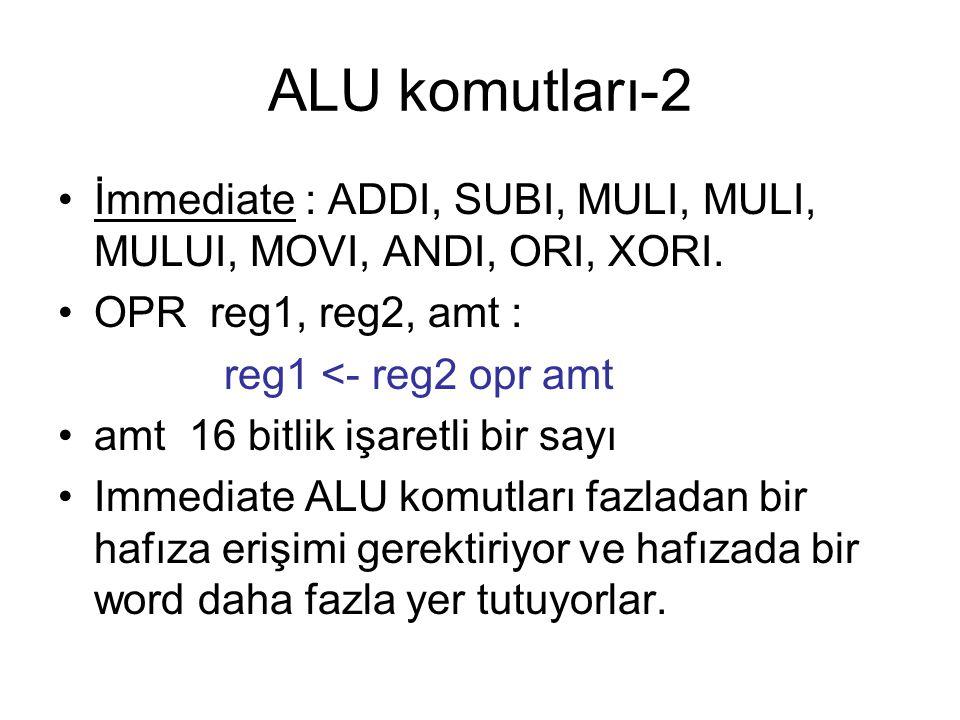 ALU komutları-2 İmmediate : ADDI, SUBI, MULI, MULI, MULUI, MOVI, ANDI, ORI, XORI. OPR reg1, reg2, amt : reg1 <- reg2 opr amt amt 16 bitlik işaretli bi