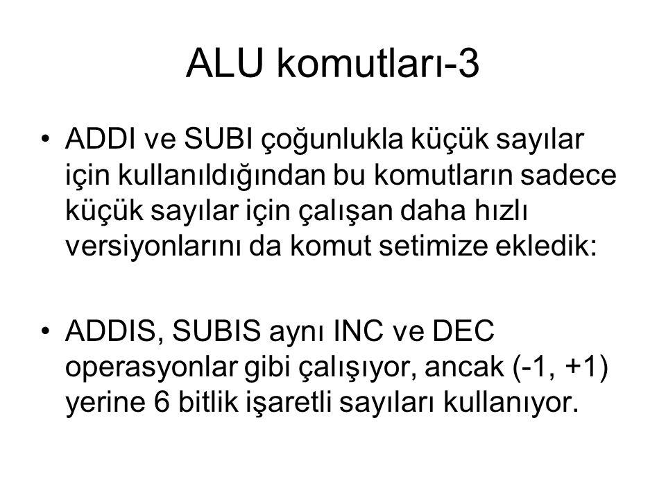 ALU komutları-3 ADDI ve SUBI çoğunlukla küçük sayılar için kullanıldığından bu komutların sadece küçük sayılar için çalışan daha hızlı versiyonlarını