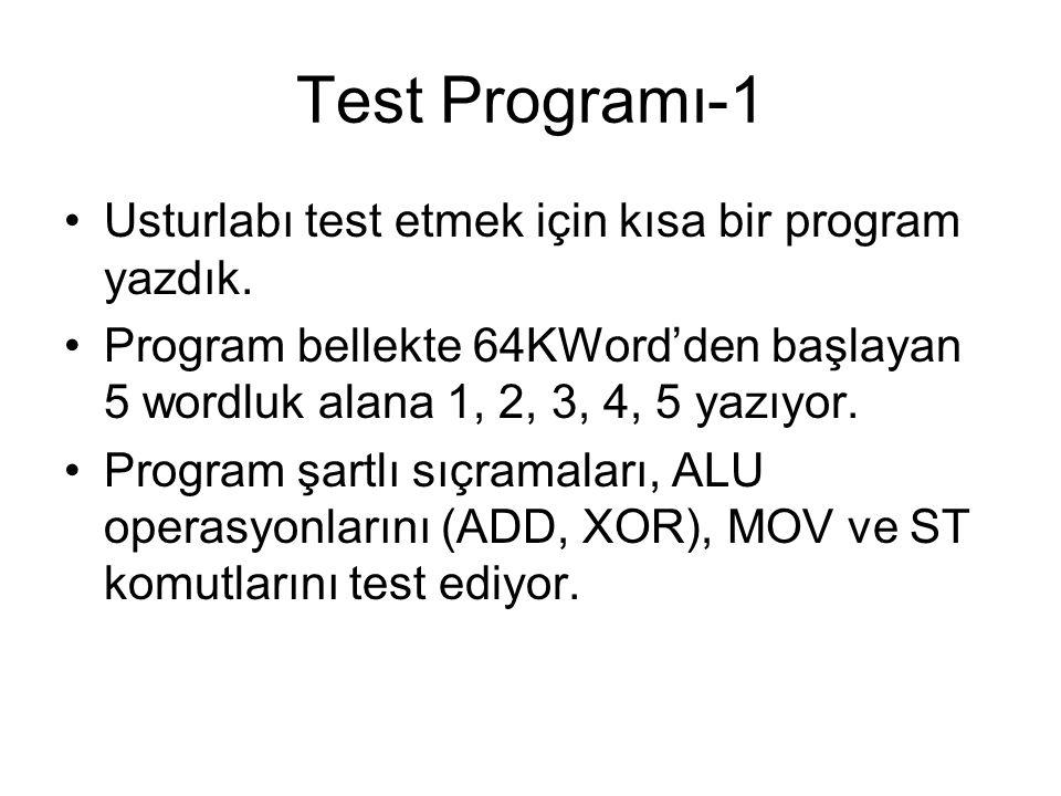 Test Programı-1 Usturlabı test etmek için kısa bir program yazdık. Program bellekte 64KWord'den başlayan 5 wordluk alana 1, 2, 3, 4, 5 yazıyor. Progra