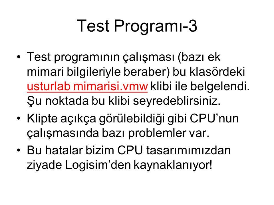 Test Programı-3 Test programının çalışması (bazı ek mimari bilgileriyle beraber) bu klasördeki usturlab mimarisi.vmw klibi ile belgelendi. Şu noktada