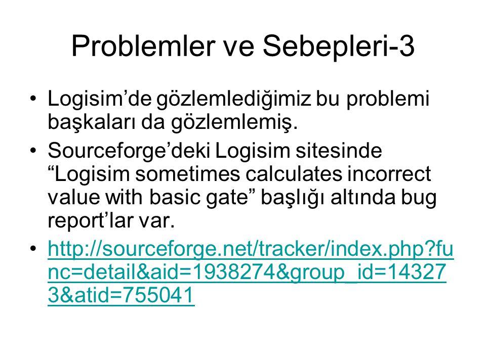 """Problemler ve Sebepleri-3 Logisim'de gözlemlediğimiz bu problemi başkaları da gözlemlemiş. Sourceforge'deki Logisim sitesinde """"Logisim sometimes calcu"""