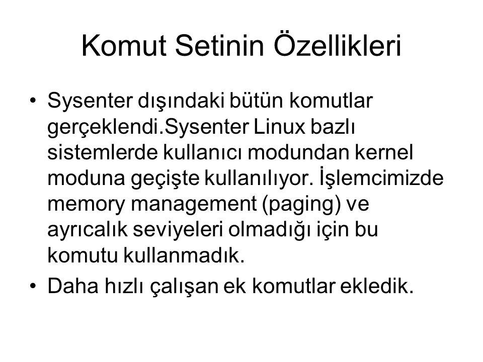 Komut Setinin Özellikleri Sysenter dışındaki bütün komutlar gerçeklendi.Sysenter Linux bazlı sistemlerde kullanıcı modundan kernel moduna geçişte kull