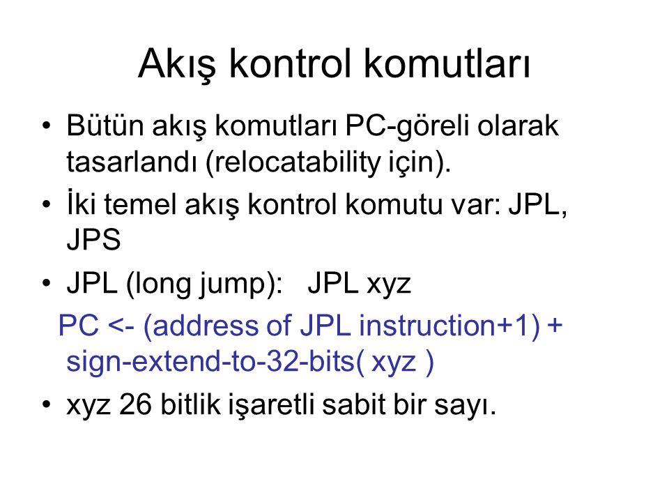 Akış kontrol komutları Bütün akış komutları PC-göreli olarak tasarlandı (relocatability için). İki temel akış kontrol komutu var: JPL, JPS JPL (long j