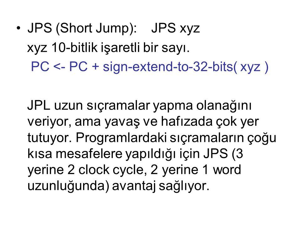 JPS (Short Jump): JPS xyz xyz 10-bitlik işaretli bir sayı. PC <- PC + sign-extend-to-32-bits( xyz ) JPL uzun sıçramalar yapma olanağını veriyor, ama y