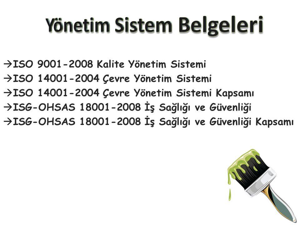  ISO 9001-2008 Kalite Yönetim Sistemi  ISO 14001-2004 Çevre Yönetim Sistemi  ISO 14001-2004 Çevre Yönetim Sistemi Kapsamı  ISG-OHSAS 18001-2008 İş
