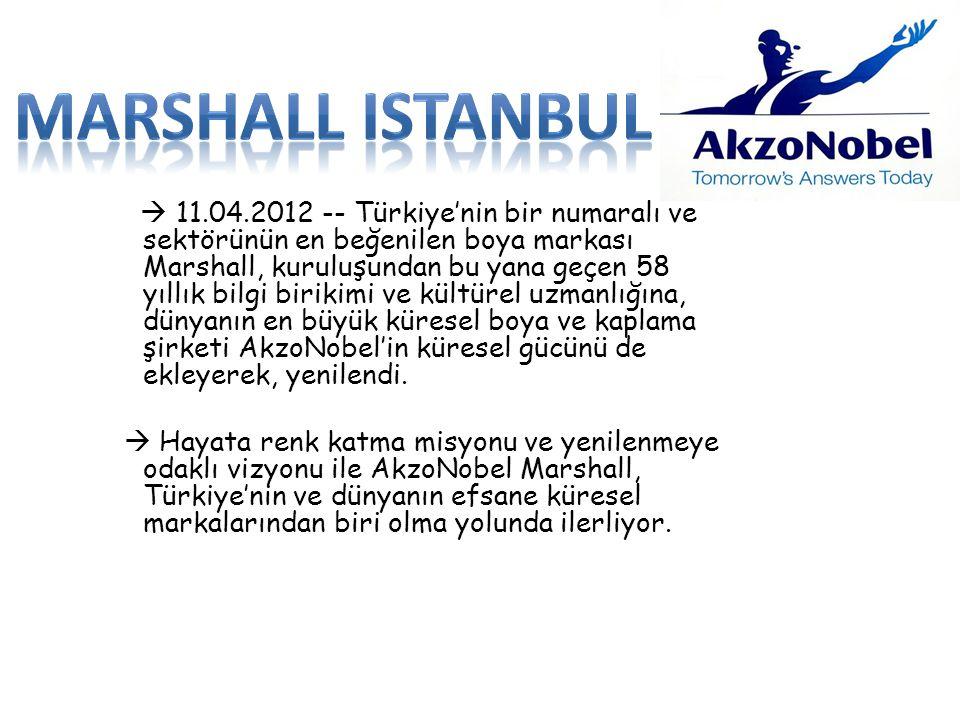  11.04.2012 -- Türkiye'nin bir numaralı ve sektörünün en beğenilen boya markası Marshall, kuruluşundan bu yana geçen 58 yıllık bilgi birikimi ve kült