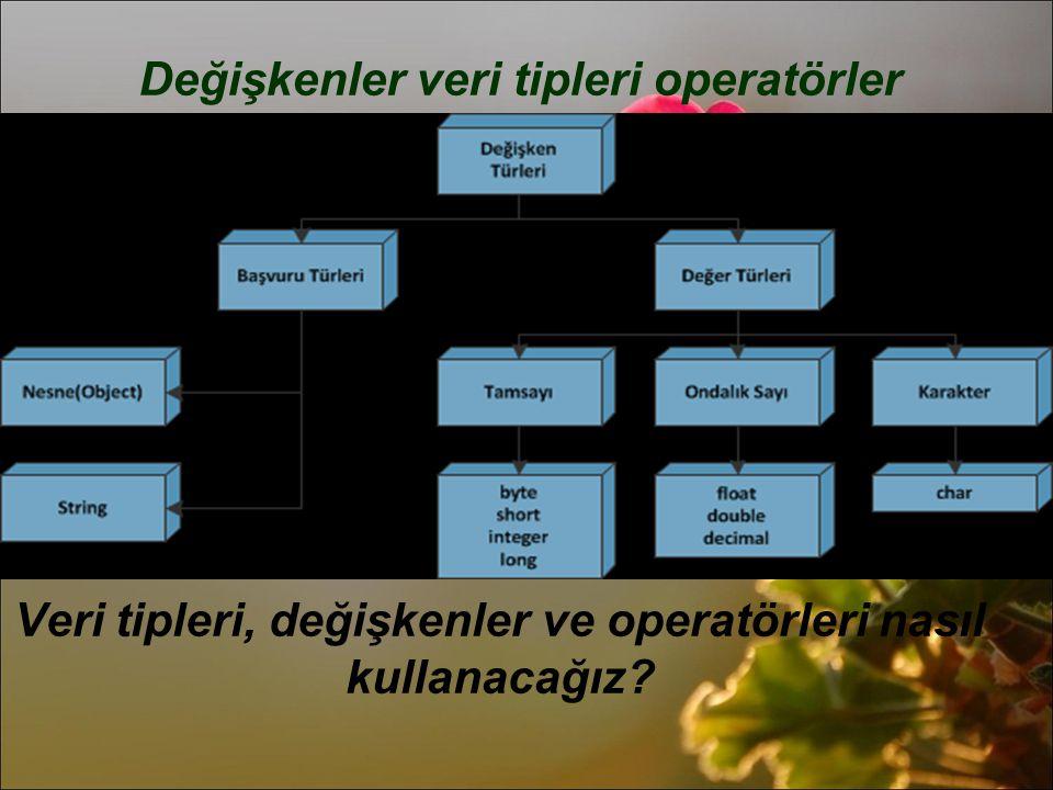 Değişkenler veri tipleri operatörler Veri tipleri, değişkenler ve operatörleri nasıl kullanacağız?