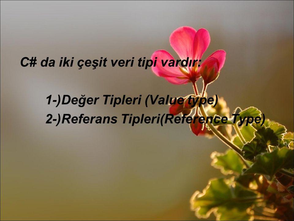 C# da iki çeşit veri tipi vardır: 1-)Değer Tipleri (Value type) 2-)Referans Tipleri(Reference Type)