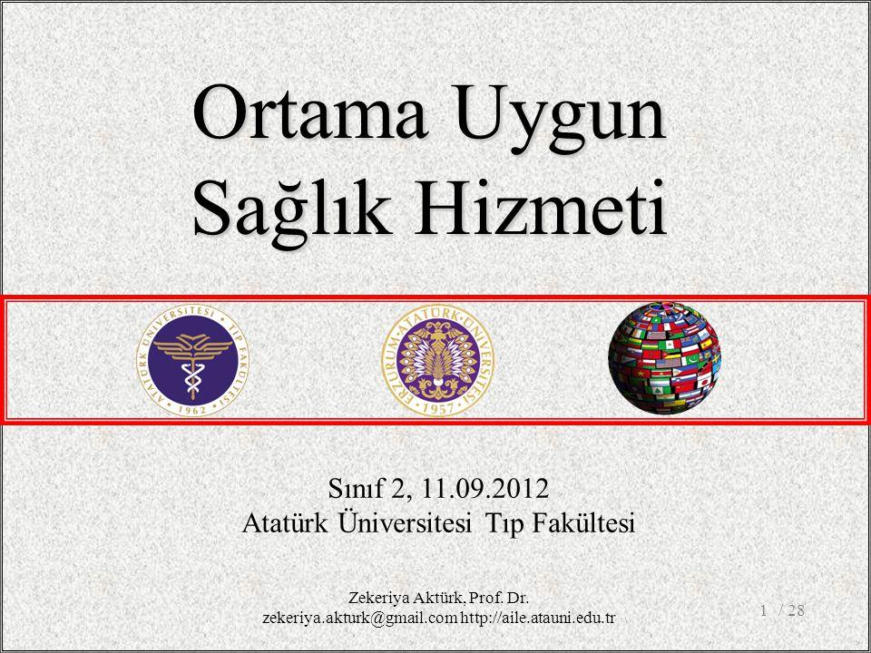 / 281 Sınıf 2, 11.09.2012 Atatürk Üniversitesi Tıp Fakültesi Ortama Uygun Sağlık Hizmeti Zekeriya Aktürk, Prof.
