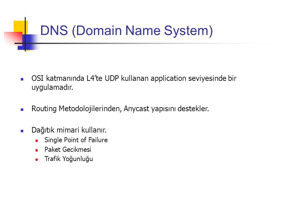 DNS (Domain Name System) OSI katmanında L4'te UDP kullanan application seviyesinde bir uygulamadır. Routing Metodolojilerinden, Anycast yapısını deste