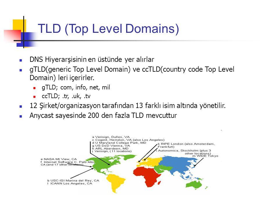 TLD (Top Level Domains) DNS Hiyerarşisinin en üstünde yer alırlar gTLD(generic Top Level Domain) ve ccTLD(country code Top Level Domain) leri içerirle