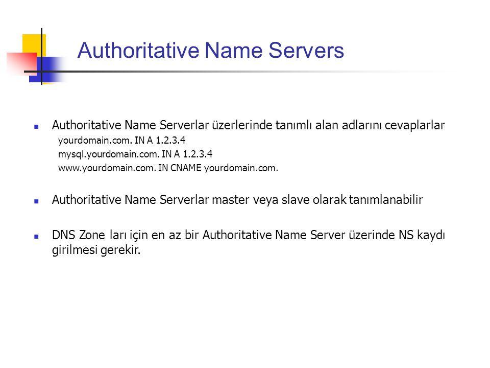 Authoritative Name Servers Authoritative Name Serverlar üzerlerinde tanımlı alan adlarını cevaplarlar yourdomain.com. IN A 1.2.3.4 mysql.yourdomain.co