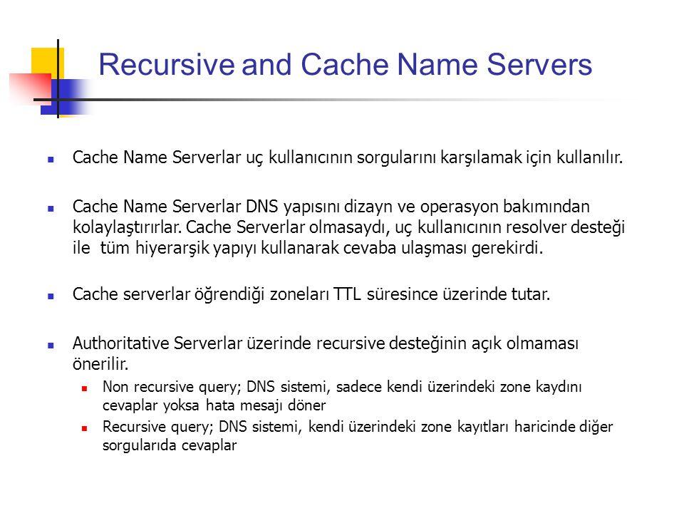 Recursive and Cache Name Servers Cache Name Serverlar uç kullanıcının sorgularını karşılamak için kullanılır. Cache Name Serverlar DNS yapısını dizayn