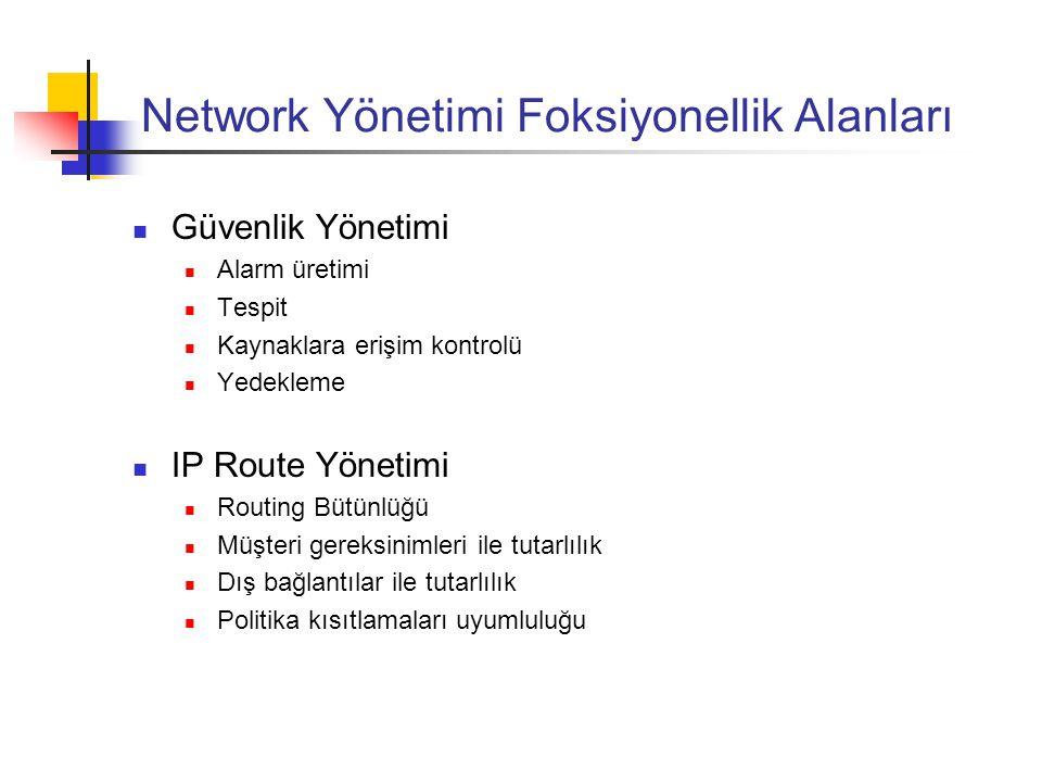Network Yönetimi Foksiyonellik Alanları Hesap Yönetimi Ağ kaynağı kullanıcıları ve yöneticilerinin tanımlanması Müşteri kimliğinin ağ kaynakları ile eşleştirilmesi Geri Ödeme ( hacimsel veri, zamanlı veri, günün tarih ve saati ) Bilgi Temelli Yönetim Uzman Sistemler Modelleme (simülasyon, routing, konfigürasyon değişiklikleri)