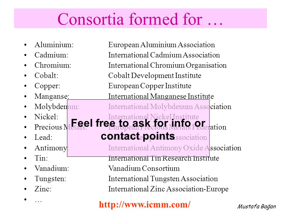 Consortia formed for … Aluminium: European Aluminium Association Cadmium: International Cadmium Association Chromium:International Chromium Organisati