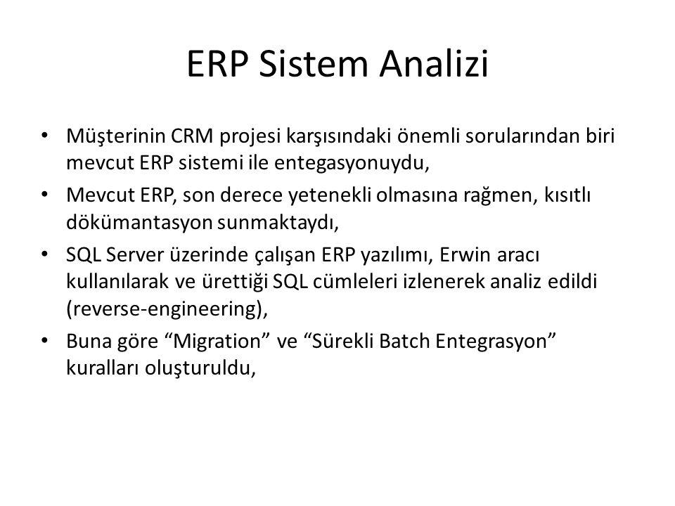 ERP Sistem Analizi Müşterinin CRM projesi karşısındaki önemli sorularından biri mevcut ERP sistemi ile entegasyonuydu, Mevcut ERP, son derece yetenekli olmasına rağmen, kısıtlı dökümantasyon sunmaktaydı, SQL Server üzerinde çalışan ERP yazılımı, Erwin aracı kullanılarak ve ürettiği SQL cümleleri izlenerek analiz edildi (reverse-engineering), Buna göre Migration ve Sürekli Batch Entegrasyon kuralları oluşturuldu,