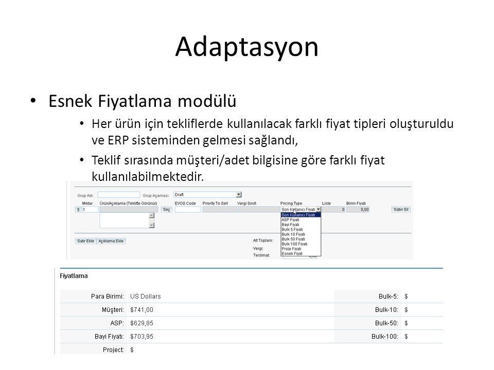 Adaptasyon Esnek Fiyatlama modülü Her ürün için tekliflerde kullanılacak farklı fiyat tipleri oluşturuldu ve ERP sisteminden gelmesi sağlandı, Teklif sırasında müşteri/adet bilgisine göre farklı fiyat kullanılabilmektedir,