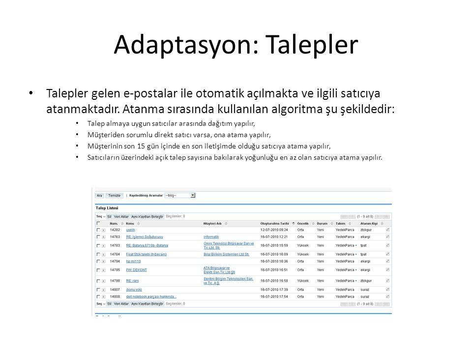 Adaptasyon: Talepler Talepler gelen e-postalar ile otomatik açılmakta ve ilgili satıcıya atanmaktadır.