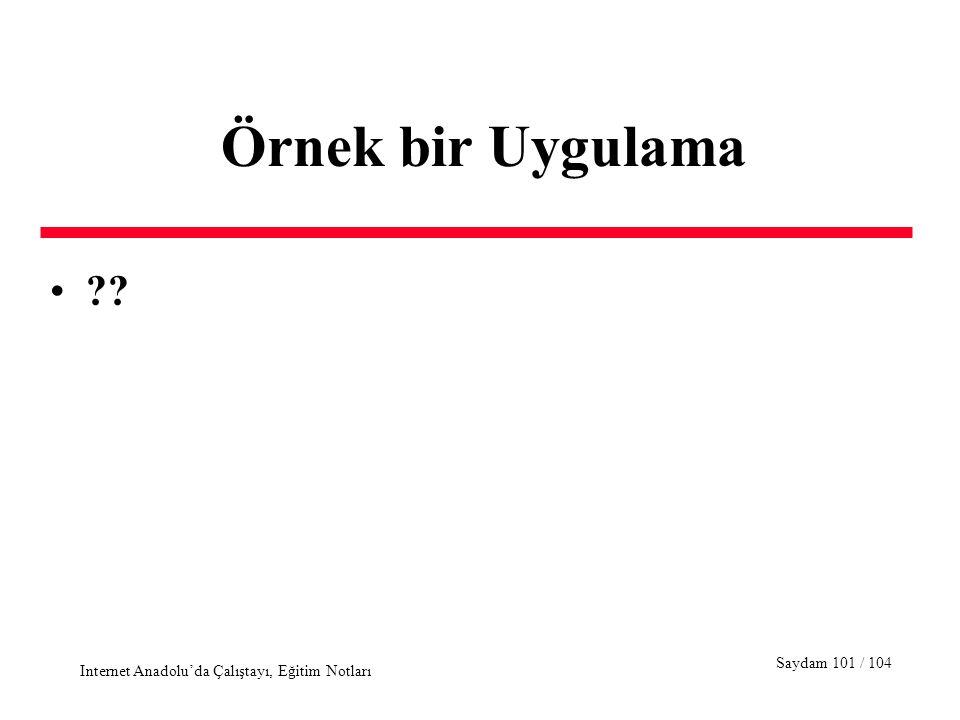 Saydam 101 / 104 Internet Anadolu'da Çalıştayı, Eğitim Notları Örnek bir Uygulama ??