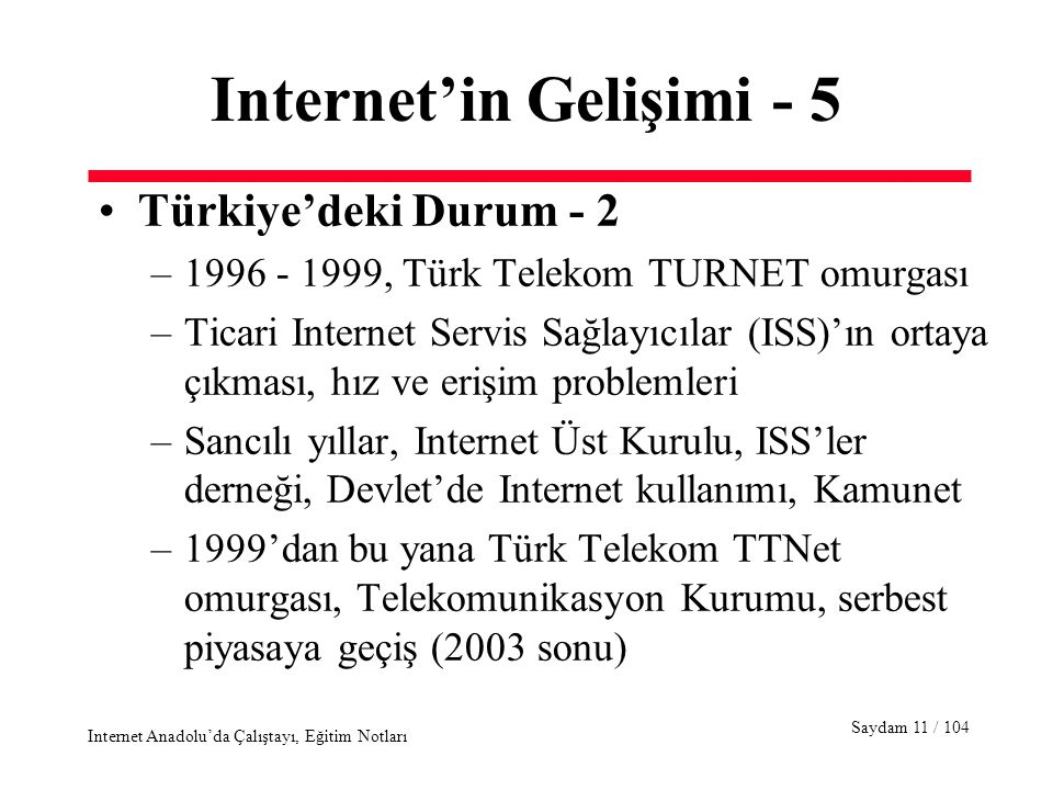 Saydam 11 / 104 Internet Anadolu'da Çalıştayı, Eğitim Notları Internet'in Gelişimi - 5 Türkiye'deki Durum - 2 –1996 - 1999, Türk Telekom TURNET omurgası –Ticari Internet Servis Sağlayıcılar (ISS)'ın ortaya çıkması, hız ve erişim problemleri –Sancılı yıllar, Internet Üst Kurulu, ISS'ler derneği, Devlet'de Internet kullanımı, Kamunet –1999'dan bu yana Türk Telekom TTNet omurgası, Telekomunikasyon Kurumu, serbest piyasaya geçiş (2003 sonu)