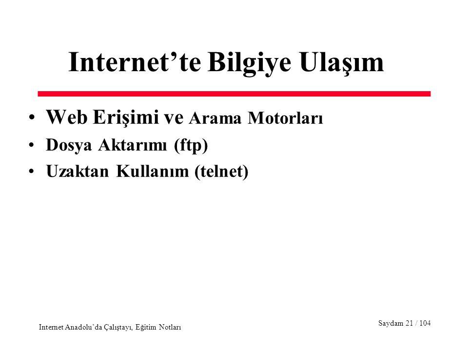Saydam 21 / 104 Internet Anadolu'da Çalıştayı, Eğitim Notları Internet'te Bilgiye Ulaşım Web Erişimi ve Arama Motorları Dosya Aktarımı (ftp) Uzaktan Kullanım (telnet)